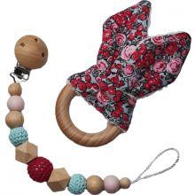 Coffret anneau de dentition et attache sucette en bois Lapinou liberty rose  par Tata Lucette