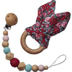 Coffret anneau de dentition et attache sucette en bois Lapinou liberty rose