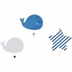 Lot de 3 patères Blue baleine