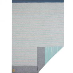 Couverture bébé en coton bio à rayures gris et bleu (75 x 100 cm)