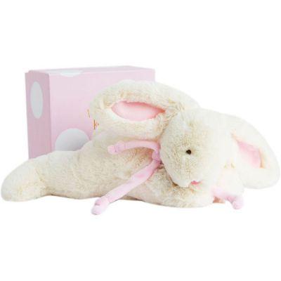 Coffret peluche lapin bonbon rose (30 cm)  par Doudou et Compagnie