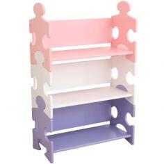 Bibliothèque enfant Puzzle rose et violet