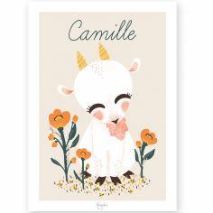 Affiche A4 Les Animignons la chèvre (personnalisable)