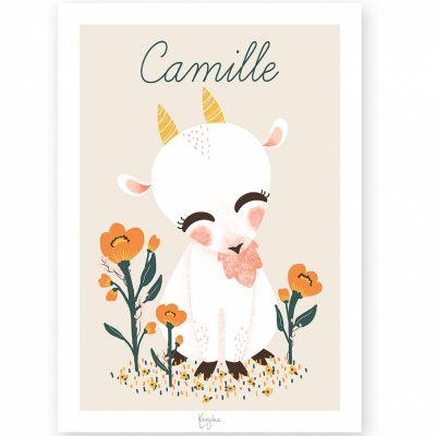 Affiche A4 Les Animignons la chèvre (personnalisable)  par Kanzilue