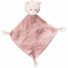 Doudou plat rose ours Lily poudrée