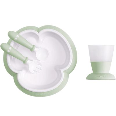 Coffret repas bébé vert pastel (4 pièces)  par BabyBjörn