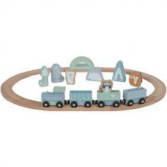 Circuit train en bois Adventure blue