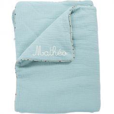 Couverture en coton bleu Les Jolis trop beaux personnalisable (90 x 69 cm)