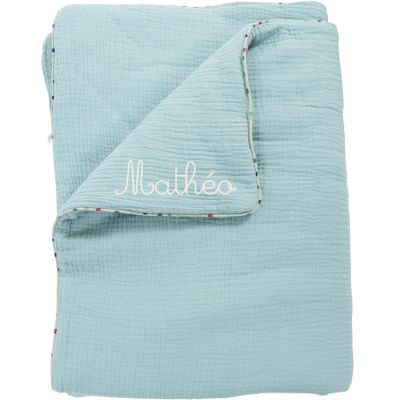Couverture en coton bleu Les Jolis trop beaux personnalisable (90 x 69 cm)  par Moulin Roty