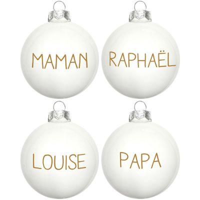 Lot de 4 boules de Noël texte doré (personnalisables)