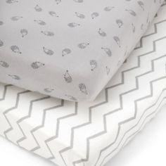 Lot de 2 draps housses hérisson gris (70 x 140 cm)