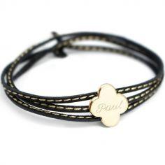 Bracelet cuir maman Amazone trèfle (plaqué or)