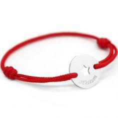 Bracelet cordon Mini jeton étoile (argent 925°)
