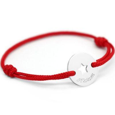 Bracelet cordon Mini jeton étoile (argent 925°)  par Petits trésors