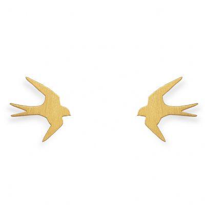 Boucles d'oreilles Nature hirondelle (vermeil doré)  par Coquine
