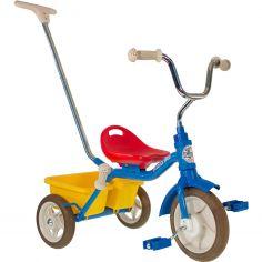 Tricycle Passenger avec panier arrière amovible bleu, rouge et jaune