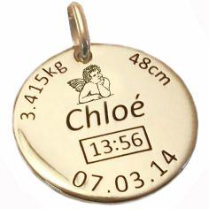 Médaille de naissance ange personnalisable (or jaune 750°)