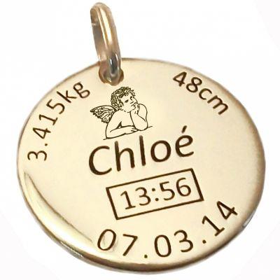 Médaille de naissance ange personnalisable (or jaune 750°)  par Alomi