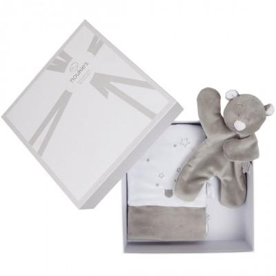 Coffret cadeau protège carnet de santé + doudou plat Nouky platso gris  Noukie's