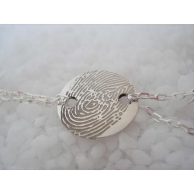 Bracelet empreinte pastille 2 trous ronds sur double chaîne 14 cm (argent 925°)   par Les Empreintes