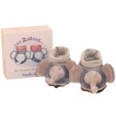 Coffret chaussons de naissance Eléphant Les Zazous (0-6 mois) - Moulin Roty