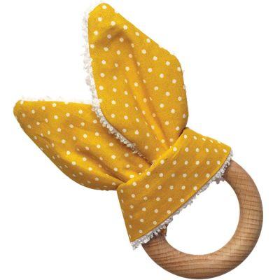 Anneau de dentition en bois Lapinou jaune  par Tata Lucette