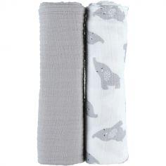 Lot de 2 maxi langes en mousseline de coton Eléphant gris (100 x 100 cm)