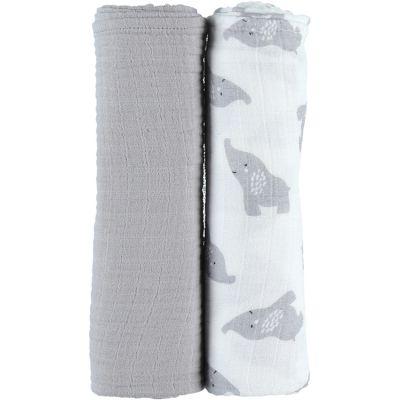 Lot de 2 maxi langes en mousseline de coton Eléphant gris (100 x 100 cm)  par Noukie's