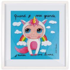Affiche encadrée Quand je serai grande j'aurai une licorne (30 x 30 cm)