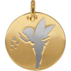 Médaille Fée personnalisable (acier et or jaune 750°)