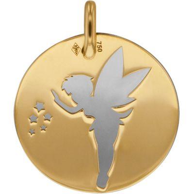 Médaille Fée personnalisable (acier et or jaune 750°)  par Lucas Lucor