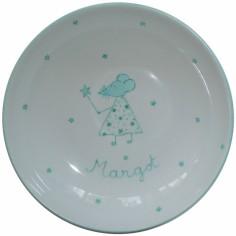 Assiette creuse en porcelaine souris verte personnalisable