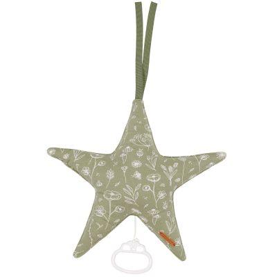 Peluche musicale étoile à suspendre Wild Flowers olive  par Little Dutch