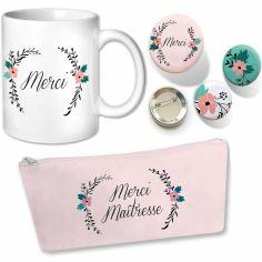 Ensemble Maîtresse trousse mug et badges Fleurs