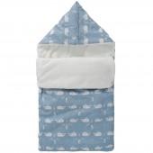 Nid d'ange chaud teddy baleine bleu en coton bio (40 x 80 cm) - Fresk