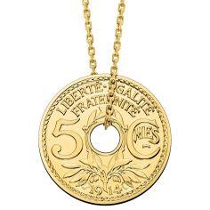 Collier chaîne 48 cm médaille 5 centimes 16 mm recto verso (or jaune 750°)