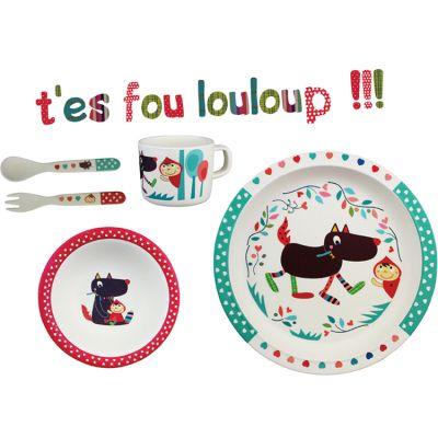 Coffret repas bambou T'es fou Louloup (5 pièces)  par Ebulobo