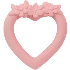 Anneau de dentition en caoutchouc Coeur rose