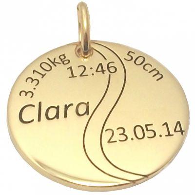 Médaille de naissance balle de tennis personnalisable (or jaune 750°)