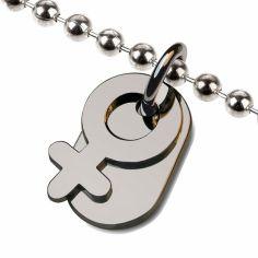 Collier sur chaîne boule symbole fille (argent 925°)