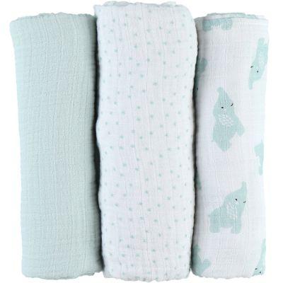 Lot de 3 langes en mousseline de coton Eléphant menthe (70 x 70 cm)  par Noukie's
