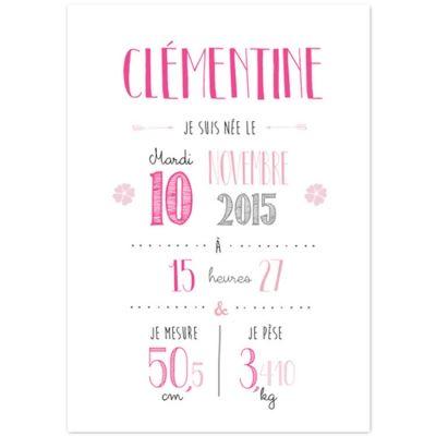 Affiche de naissance A3 rose (personnalisable)  par La Poupette à paillettes