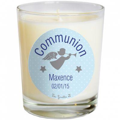 Bougie artisanale communion ou baptème ange bleu (personnalisable)  par Les Griottes