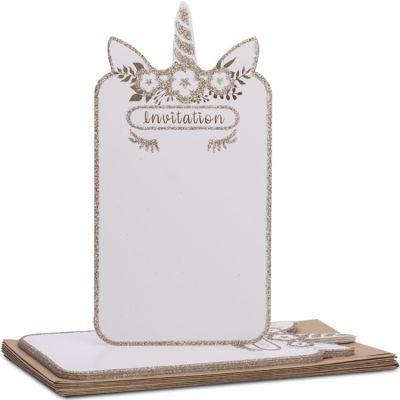 Lot de 8 cartes d'invitation Licorne