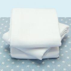 Lot de 3 langes en coton bio blanc (60 x 60 cm)