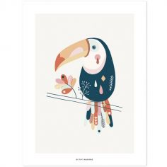 Affiche toucan Paradisio pastel (30 x 40 cm)