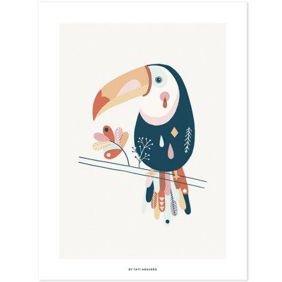 Affiche toucan Paradisio pastel (30 x 40 cm) Lilipinso