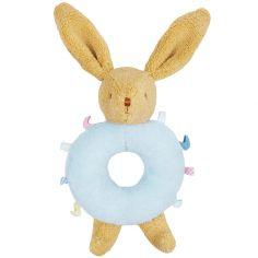 Hochet lapin bleu avec étiquettes (17 cm)