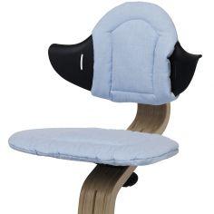 Coussin réversible pour chaise haute évolutive NOMI bleu poudré et sable