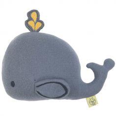 Hochet tricoté baleine bleu gris Little Water (22 cm)